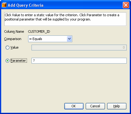 Add Query Criteria W menu Add