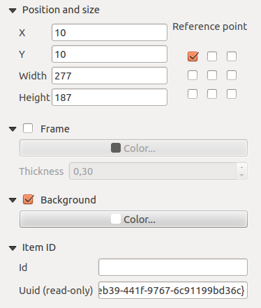 18.1.5 Composer items general options Composer items have a set of common properties you will find on the bottom of the Item Properties tab: Position and size, Frame, Background, Item ID and