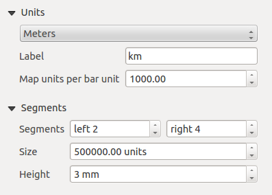 Main properties The Main properties dialog of the scale bar Item Properties tab provides the following functionalities (see figure_composer_18): Rysunek 18.