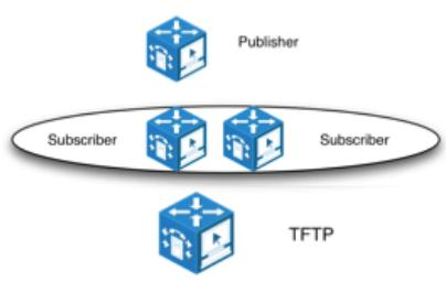 Publisher One Subscriber pairs in 1:1 redundancy A TFTP server Duży klient 2500-10.