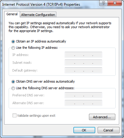 5. Odhacz Obtain an IP address automatically (uzyskaj adres IP automatycznie) i Obtain DNS server