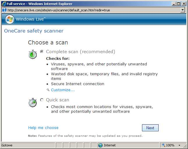 Live OneCare Safety Scanner