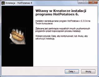 E-learning samouczek 3 7 3 Naste pnie wybieramy link Hot Potatoes 6.3 installer (dla systemu Windows; jes li korzystamy z innego systemu operacyjnego wskazujemy odpowiedni link w tej cze s ci okna).