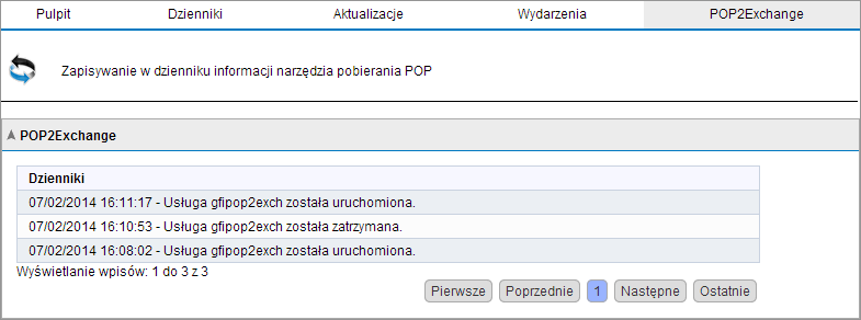 4.1.5 Aktywność programu POP2Exchange Screenshot 29: Dziennik programu POP2Exchange W programie GFI MailEssentials można monitorować aktywność programu POP2Exchange w czasie rzeczywistym.