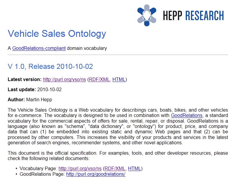 Hepp Research Automotive Ontology Hepp Research: