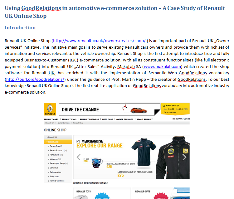 Semantic Web applications for automotive industry MakoLab: Application of GoodRelations for