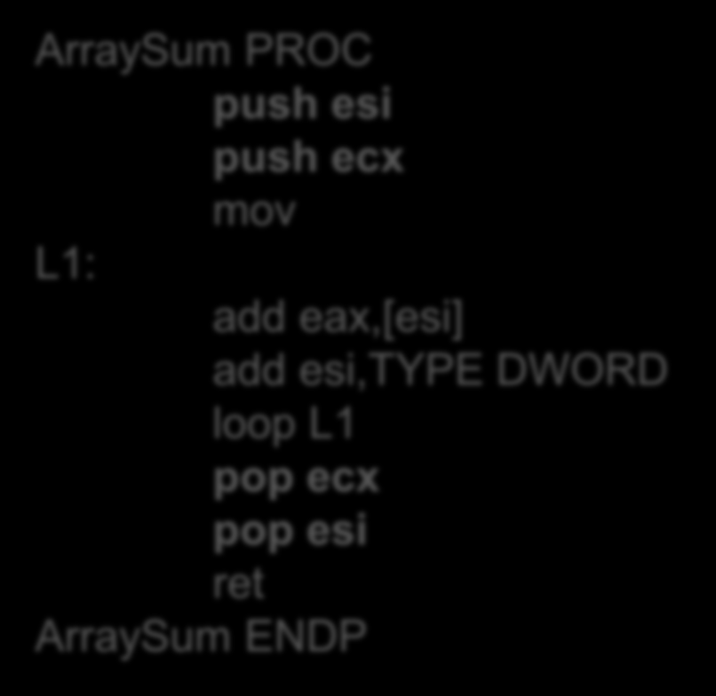 USES - przykład ArraySum PROC USES esi ecx mov eax,0 ; L1: add eax,[esi] ; add esi,type DWORD loop L1 ret ArraySum