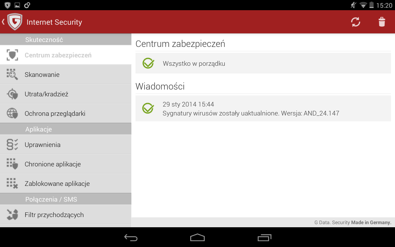 G DATA Internet Security for Android 10.1.1 152 Centrum zabezpieczeń Sekcja Centrum zabezpieczeń przedstawia ogólny stan zabezpieczeń programu Internet Security.