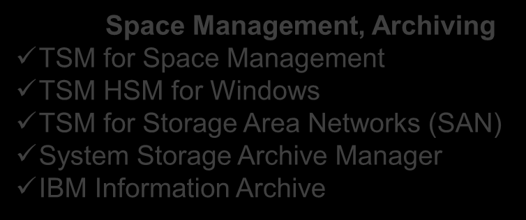 IBM Tivoli Storage Manager - rodzina produktów TSM Server Products Tivoli Storage Manager Backup/Recovery Archive/Retrieve Data Reduction (deduplication) TSM Extended Edition (Basic plus.