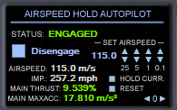 AIRSPEED HOLD Autopilot Engaged You will notice there are four sets of SET AIRSPEED arrows labeled 25, 5, 1, and 0.1. Clicking these will adjust your set airspeed by 25, 5, 1, and 0.
