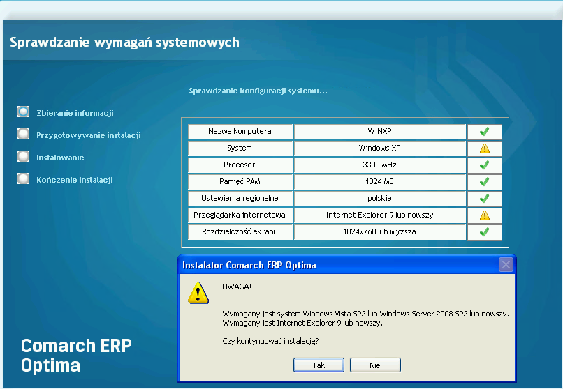 20. Instalacja. Przestały być wspierane systemy operacyjne Windows XP oraz Windows Server 2003. Najstarsze obsługiwane systemy to Windows Vista SP2 oraz Windows Server 2008 SP2.