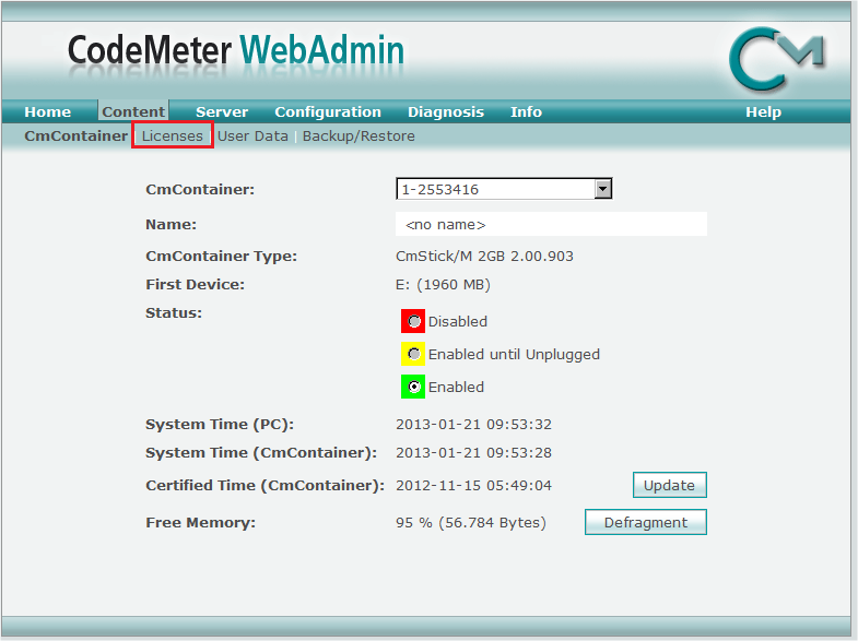 6. In the CodeMeter WebAdmin, select Licences. The CodeMeter Web Administrator (WebAdmin) allows you an easy view on the CodeMeter system.