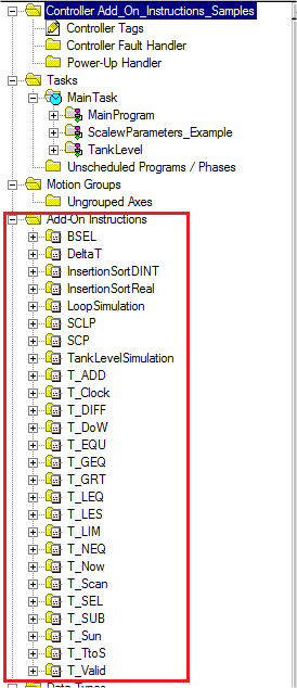 19. Select Add_On_Instructions_Samples.ACD and click on Open. 20. This project contains a bunch of sample AOIs that can be used in your projects.
