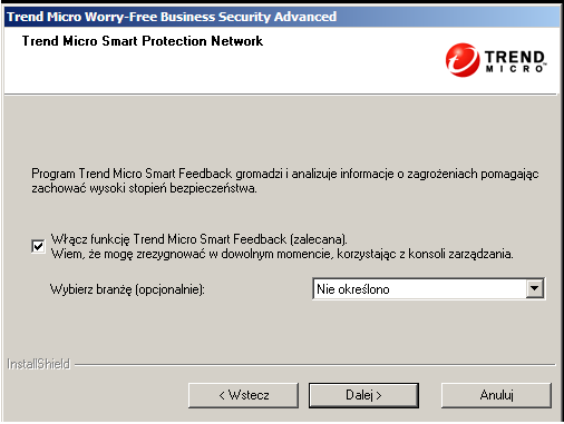 Instalowanie programu Security Server RYSUNEK 3-12. Ekran infrastruktury Trend Micro Smart Protection Network 13.