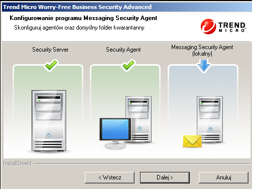 Instalowanie programu Security Server Aby zainstalować program Remote Messaging Security Agent: 1.