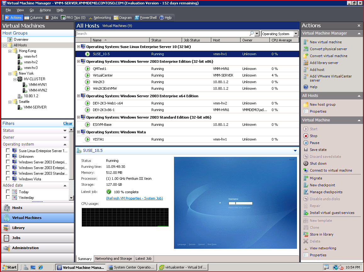 System Center Virtual Machine Manager 2008 Hyper-V Cluster VMware server Virtual