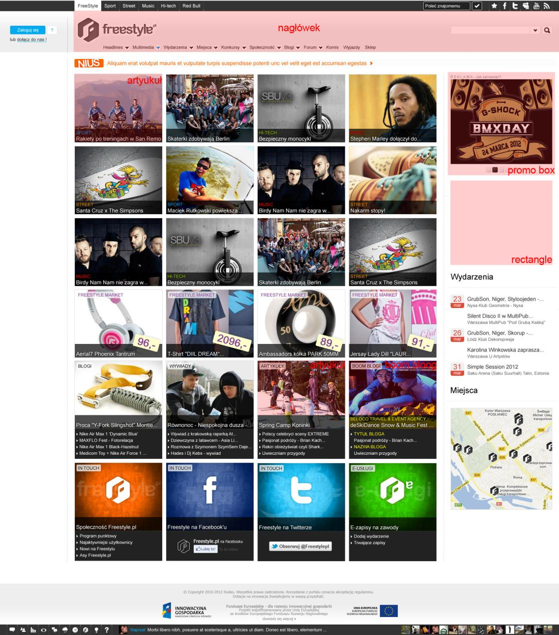 Rozmieszczenie form reklamowych Formy reklamowe Billboard 750x100 px/double Billboard 750x200 px Medium Rectangle 300x250 px Promo Box 325x310 px Animowany (gif) lub statyczny (jpg, gif, png) Box