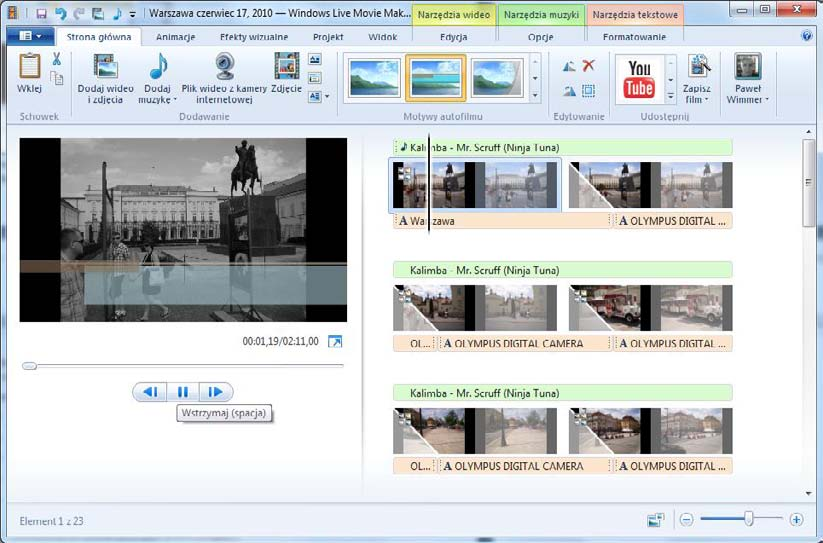 60 Wimmer Windows Live Movie Maker 2011: Autofilm Rozdział 9.
