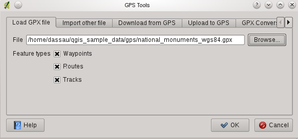 Rysunek 15.1: The GPS Tools dialog window GPX file uses WGS84 (latitude/longitude). QGIS expects this and it is the official GPX specification. See http://www.topografix.com/gpx/1/1/ 15.1.3 GPSBabel Since QGIS uses GPX files you need a way to convert other GPS file formats to GPX.