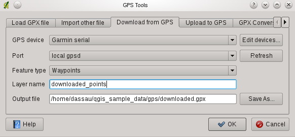Rysunek 15.2: The download tool 15.1.6 Uploading GPS data to a device You can also upload data directly from a vector layer in QGIS to a GPS device using the Upload to GPS tab of the GPS Tools dialog.