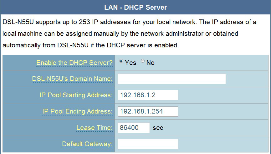 3. W polu Enable the DHCP Server? (Włączyć serwer DHCP?), zaznacz Yes (Tak). 4. W polu IP Pool Starting Address (Adres początkowy zakresu IP), wprowadź adres początkowy IP. 5.