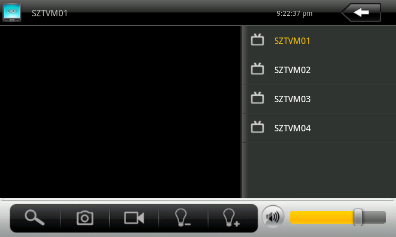 Play interface Channels list Volume adjustment Channel search Clip current Video recorded Brightness control photo Picture:6-1 When play in full screen, click menu, the bottom