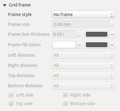 Figure 18.7: Draw Grid Dialog section of the Grid Frame Dialog mentioned below you then have a corresponding setting. Symbology of the grid can be chosen. See section Rendering_Mode.