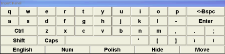 Keyboard (1) Title bar (Allows to move keyboard on the screen) (2) Keyboard (3) Switch to english keyboard (4) Numeric
