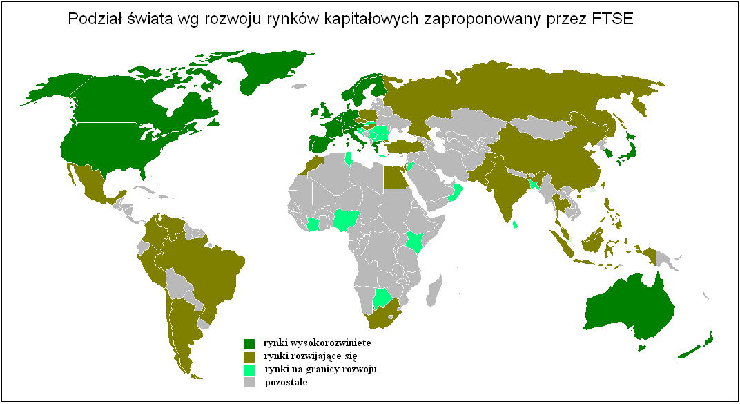 Rys. 1: Zróżnicowanie rozwoju rynków kapitałowych na świecie wg raportu FTSE 2008. Źródło: http://ftse.com/indices/country_classification/downloads/ftse_country_cla ssification_sept_08_update.