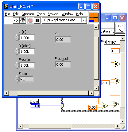 Podprogram w LabView (analogia do języka C) Definicja funkcji w języku C: Void Unit_RC (DUT Enum, float Freq_in, float C, float R, double &Ku, double &Freq_out ) {.