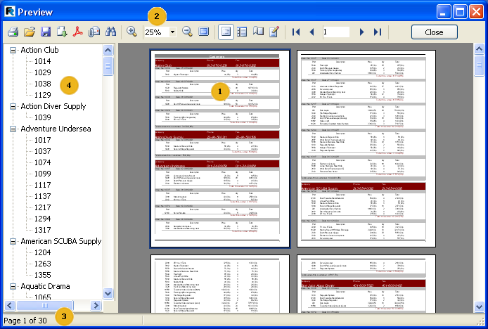 197 FastReport 4.6 User's Manual The built report can be displayed, printed or exported into one of the supported formats. Everything can be performed in preview window.