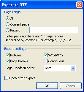 Report viewing, printing and export 206 14.5.3 Export to RTF Format RTF (Rich Text Format) was developed by Microsoft as a standard for text documents interchange.