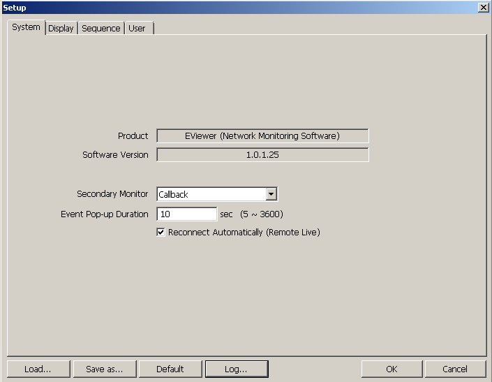 E-Viewer - user s manual, ver. 1.1 E-VIEWER SETTINGS 3.3.1. System tab System tab contains all basic settings of the application. User may also check current software version here.