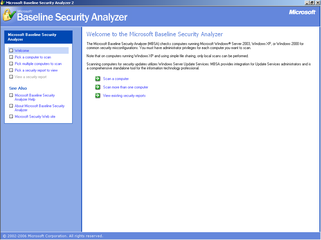 Microsoft Baseline Security Analyzer Program umożliwiający
