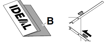 B too short push the lower folding buffer outwards. część B zbyt krótka pchnij dolny suwak na zewnątrz Insert direction for double parallel fold. This sort of fold is only possible with thin paper.