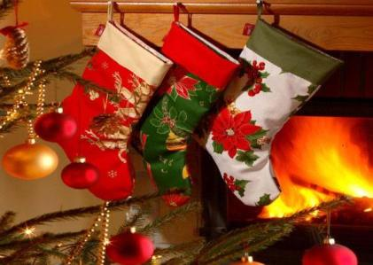 A Christmas stocking is an empty sock or sock-shaped bag that is hung on Christmas Eve so that Santa Claus can fill it with small toys, candy, fruit, coins or other small gifts when he arrives.
