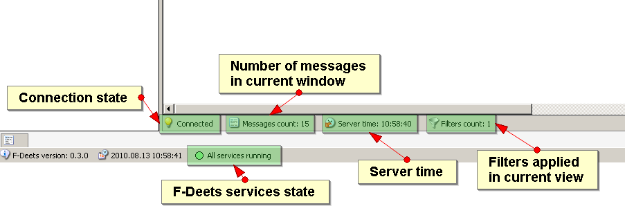 The log view window also contains a status bar, which shows current server time, connection state, messages count and active filters count.