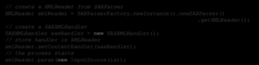 SAX parser Implementacja identyczna jak w języku Java Alternatywa dla DOM, działa w oparciu o mechanizm SAX (Simple API for XML) Tworzenie parsera: // create a XMLReader from SAXParser XMLReader