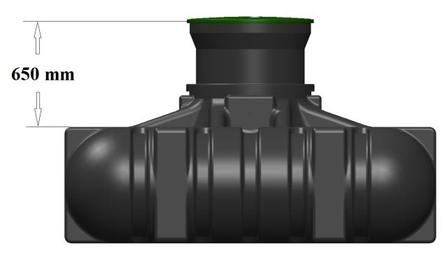 Accessories For underground installation there are two different neck extensions to achieve the burial depth required. As standard, the tank has a built-in neck for a burial depth of 265 mm.