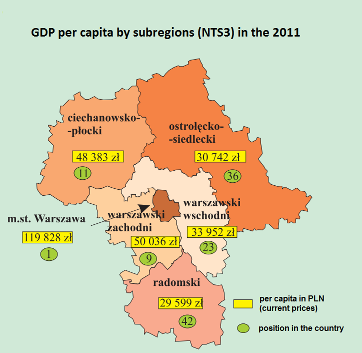 Graphic 3. Map of GDP per capita in Mazovia region in 2011 Source: Statistical Office in Warsaw, Portrait of Mazovia voivodship 2010-2012 Economic activity rate in the Mazovia region is 59.8%.