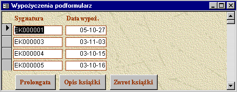 42 Konstruowanie baz danych, c Marcin Szpyrka 2005/06... obsługa błędów End Sub Visual Basic przykłady (1) Private Sub Prolongata_Click() If Not (IsNull(Me!Sygnatura)) Then Me!