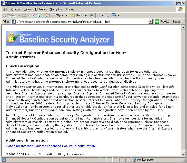 Łącznik What was scanned dla Internet Explorer Enhanced Security Configuration for Non