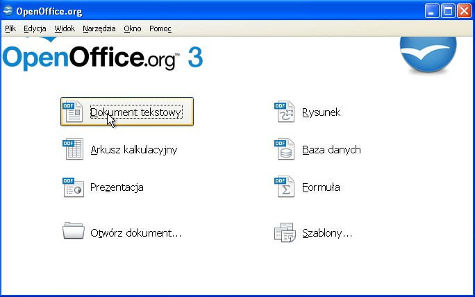 pakietu Openoffice.