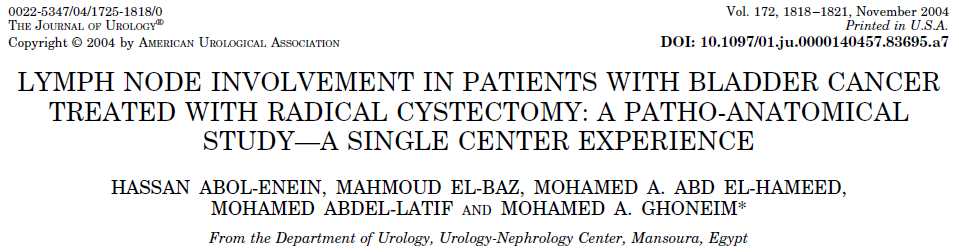 200 patients who underwent RC and extended lymphadenectomy up to the level of origin of the inferior mesenteric artery (IMA).