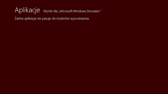 Symulator tabletu z systemem Windows 8.