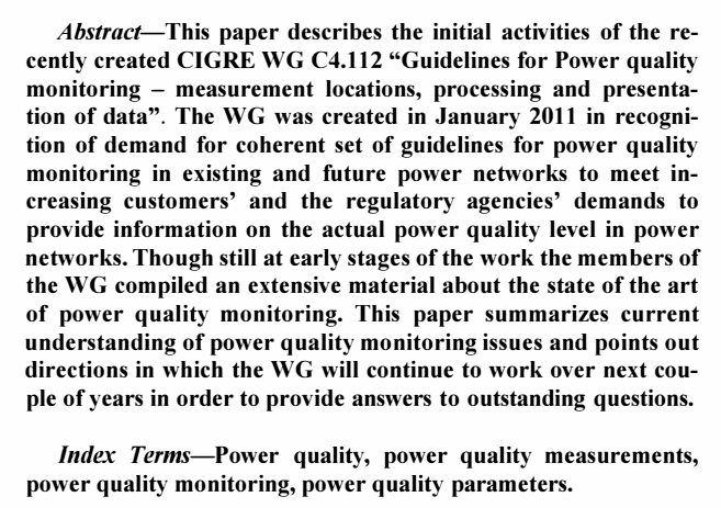 112: Guidelines for Power quality