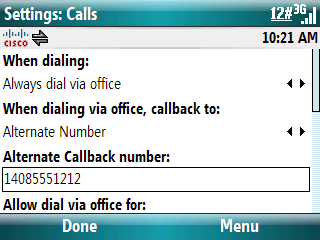 Dial via Office Administrator lub uŝytkownik definiuje ustawienie Dial via Office Tak (Dial via Office) Direct