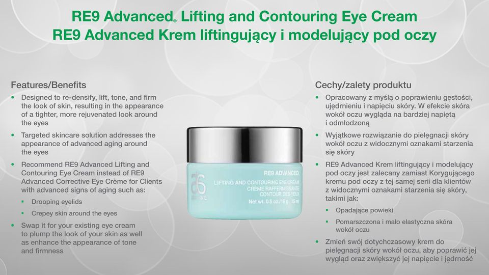 RE9 Advanced Corrective Eye Crème for Clients with advanced signs of aging such as: Drooping eyelids Crepey skin around the eyes Swap it for your existing eye cream to plump the look of your skin as