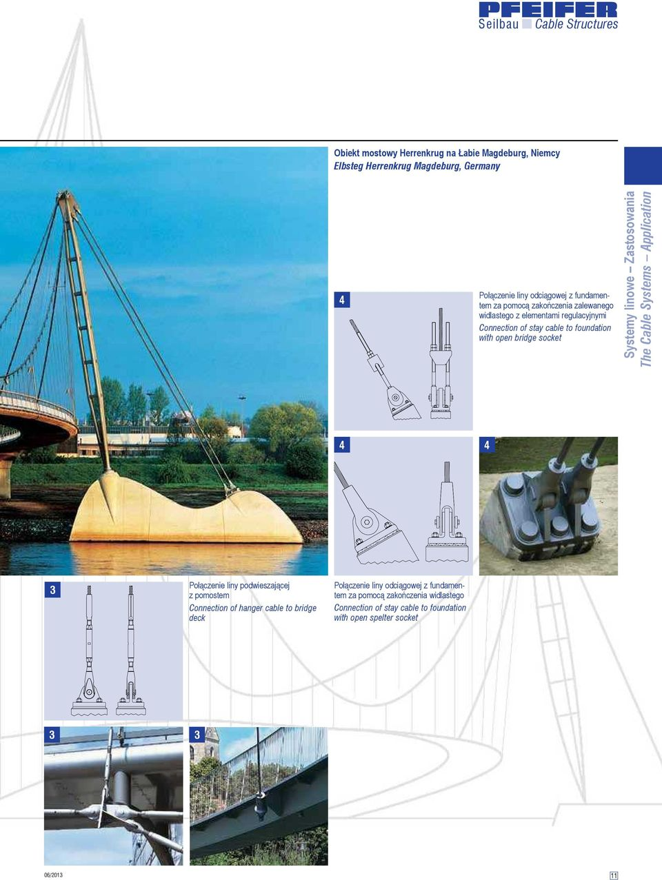 linowe Zastosowania The Cable Systems Application 4 4 3 Połączenie liny podwieszającej z pomostem Connection of hanger cable to bridge deck