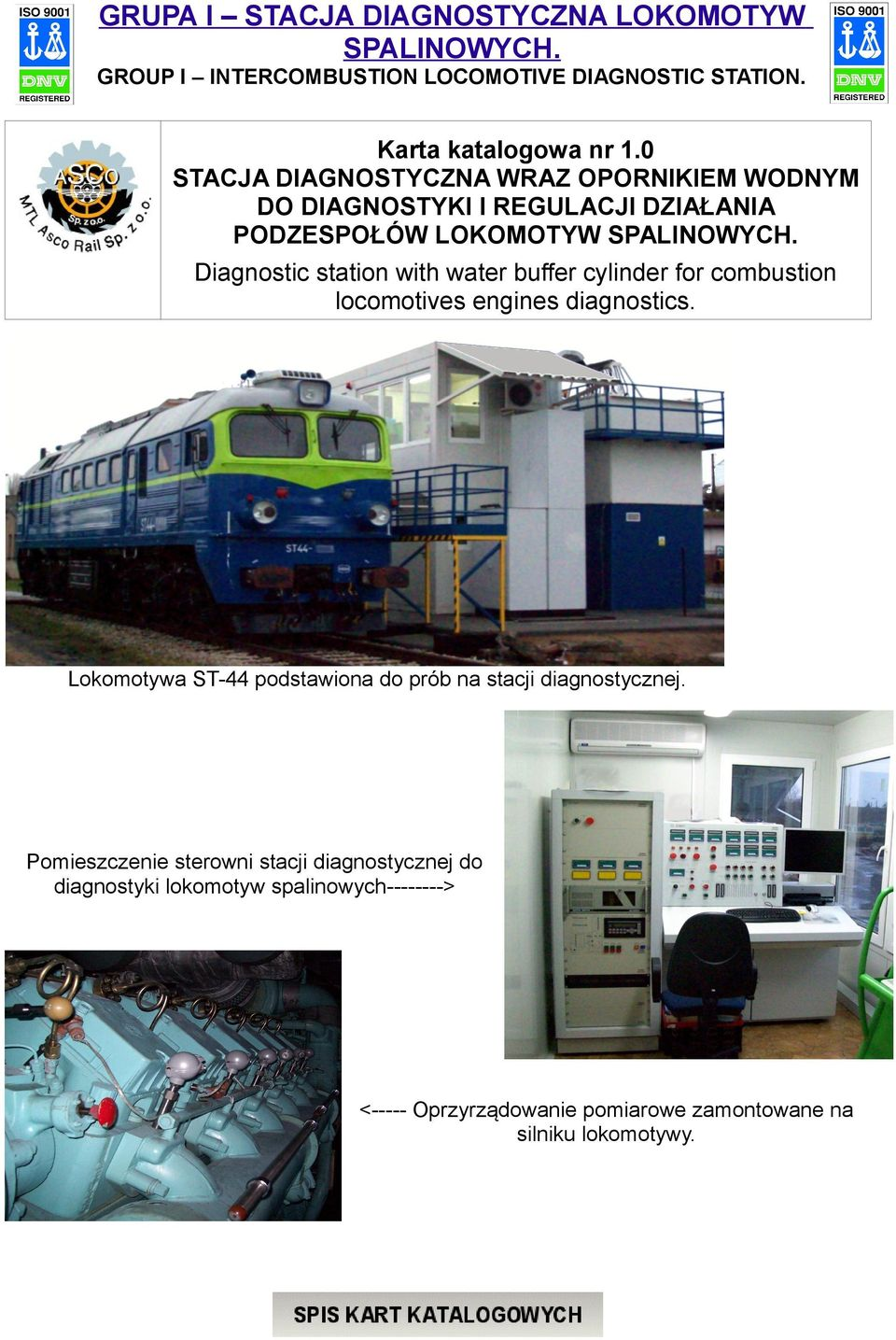 Diagnostic station with water buffer cylinder for combustion locomotives engines diagnostics.